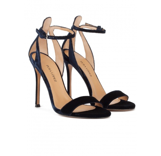 Ankle strap high heel sandals in night blue velvet Pura López