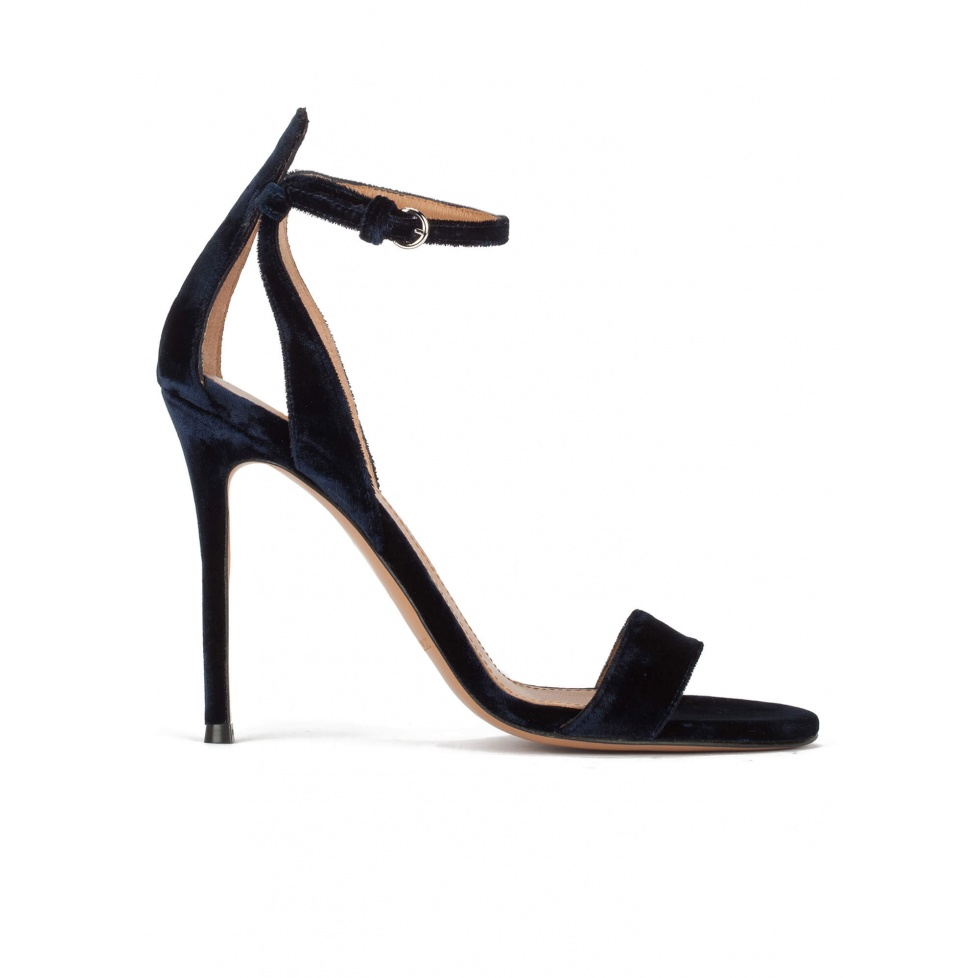 Ankle strap high heel sandals in night blue velvet