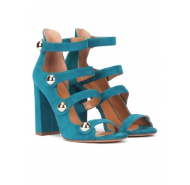 High block heel sandals in petrol blue suede with buttons Pura López