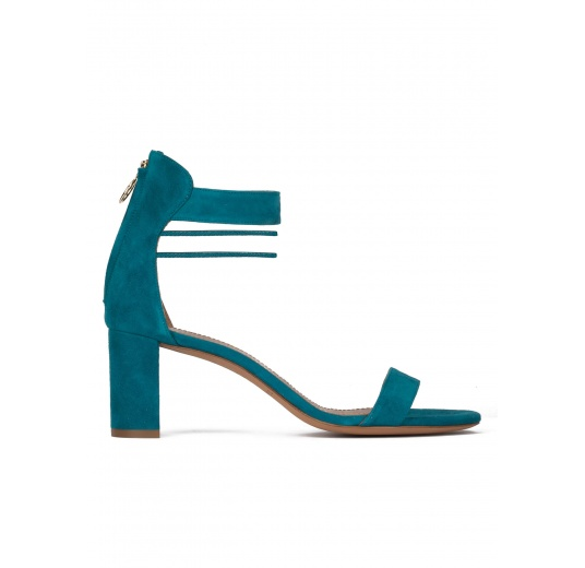 Mid block heel sandals in petrol blue suede Pura L�pez