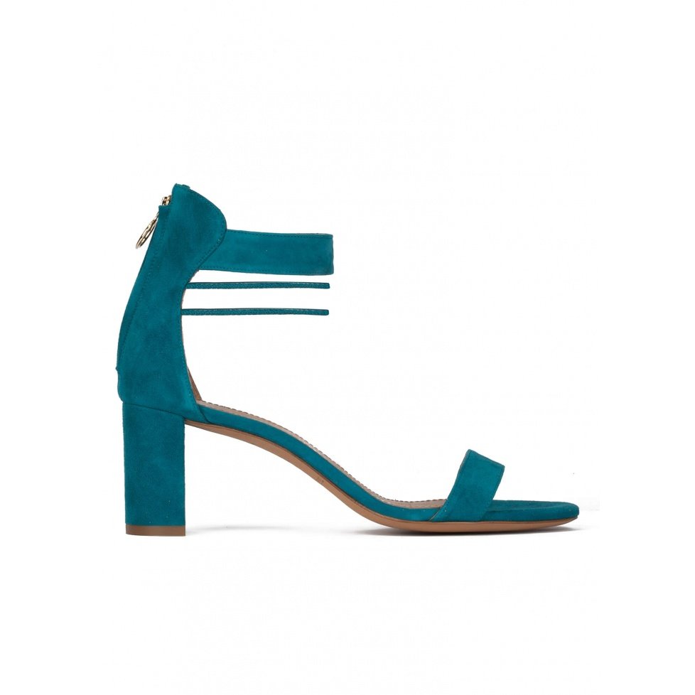 Mid block heel sandals in petrol blue suede