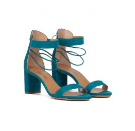 Mid block heel sandals in petrol blue suede Pura López