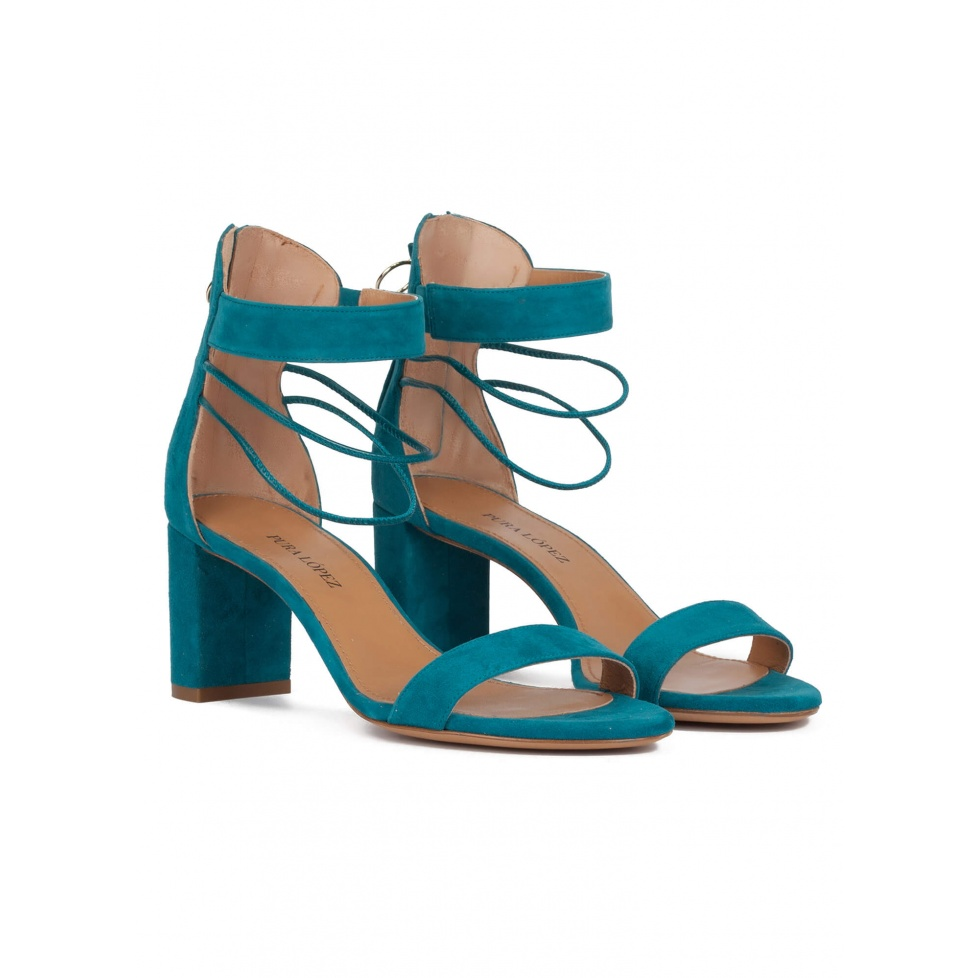 Mid block heel sandals in petrol blue suede
