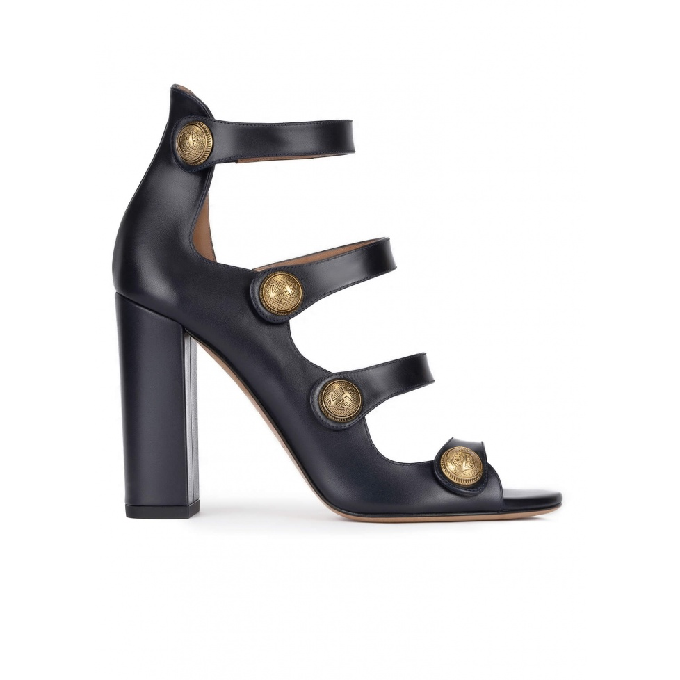 High block heel sandals in navy blue leather with buttons