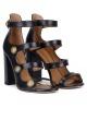 Sandalias de tacón ancho en piel azul marino con botones