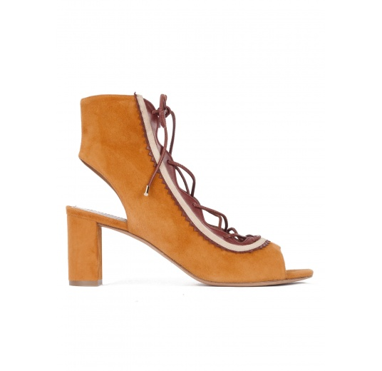 Camel lace-up mid block heel sandals in suede Pura L�pez