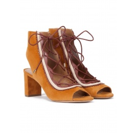 Camel lace-up mid block heel sandals in suede Pura López