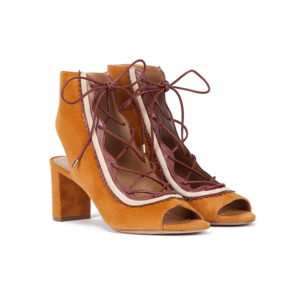 Camel lace-up mid block heel sandals in suede