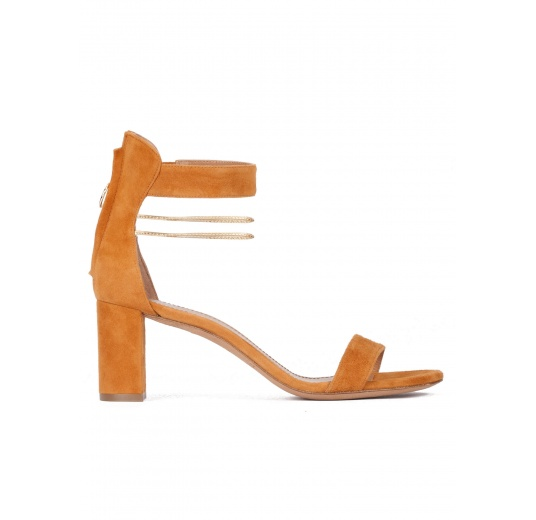 Mid block heel sandals in camel suede with ankle strap Pura L�pez