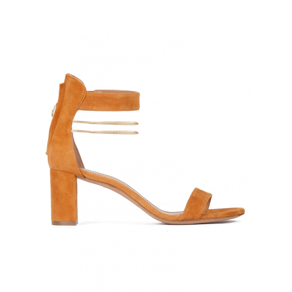Mid block heel sandals in camel suede with ankle strap