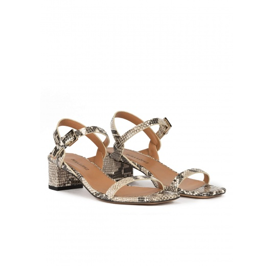 Mid block heel sandals in snake-effect leather with ankle strap Pura López