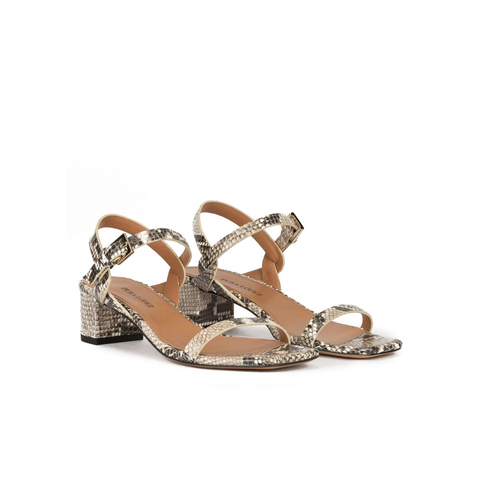 Mid block heel sandals in snake-effect leather