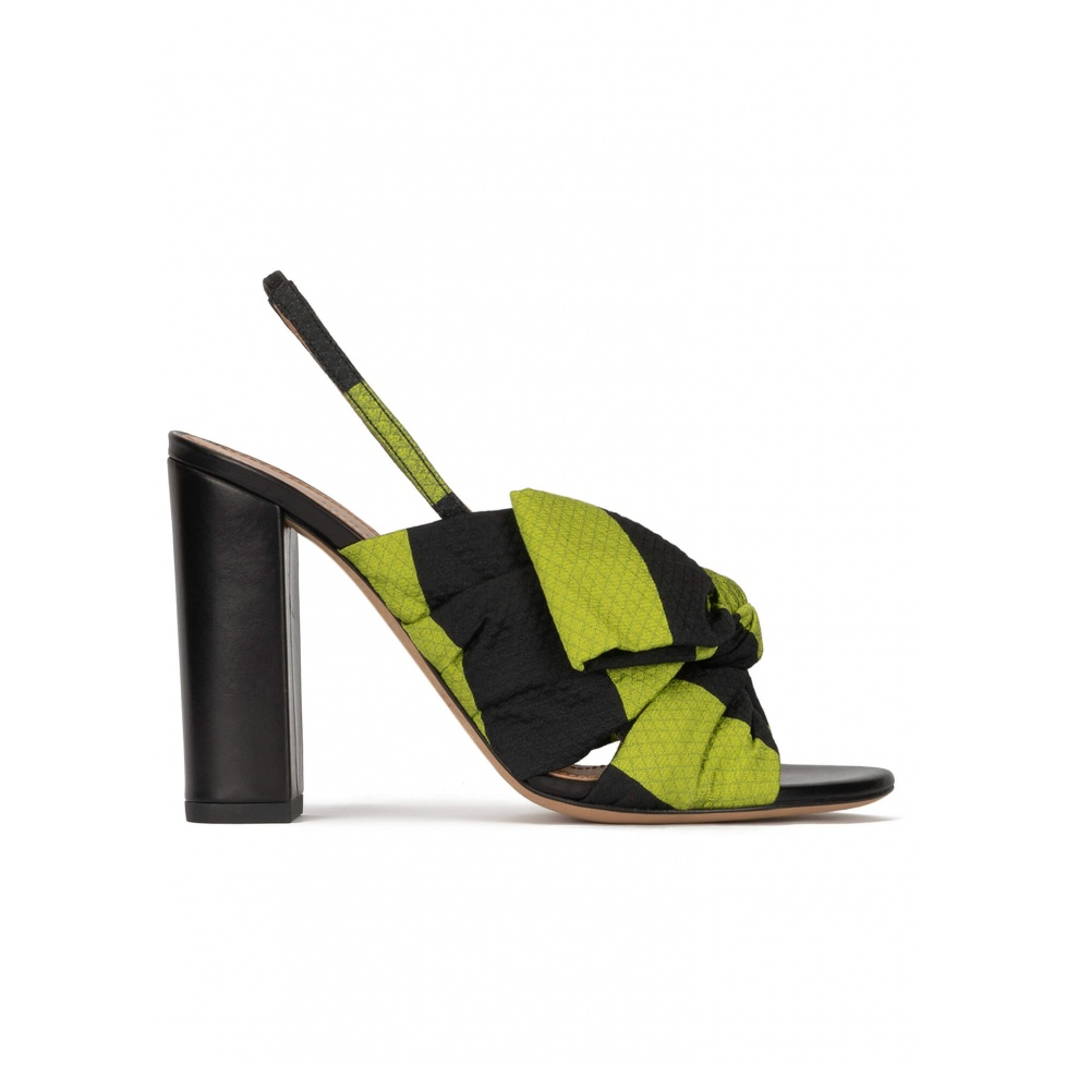 Bow detailed high block heel sandals in green and black fabric