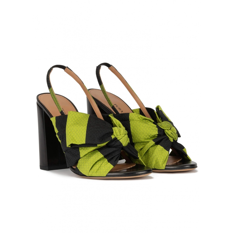 Bow detailed high block heel sandals in green and black