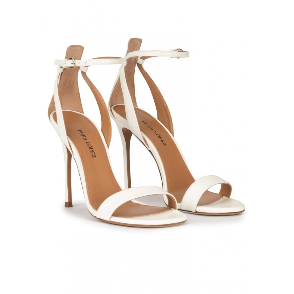Ankle-strap high stiletto heel sandals in off-white leather