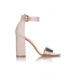 High heel sandals in stone textured leather Pura López