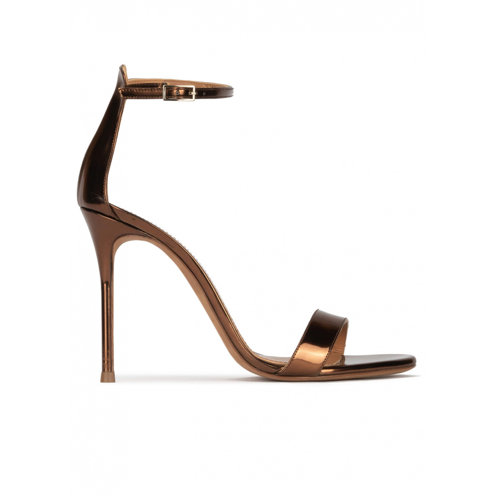 Bronze party high heel sandals in metallic leather
