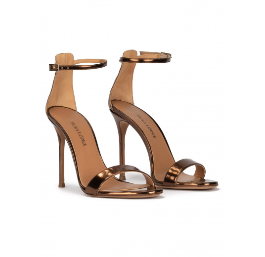 Bronze party high heel sandals in metallic leather Pura López