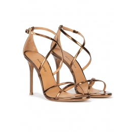 Strappy heeled sandals in bronze metallic leather Pura López