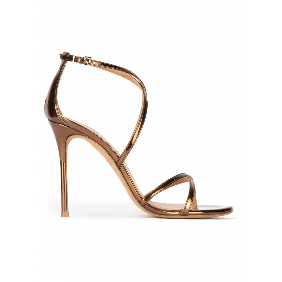 Strappy heeled sandals in bronze metallic leather