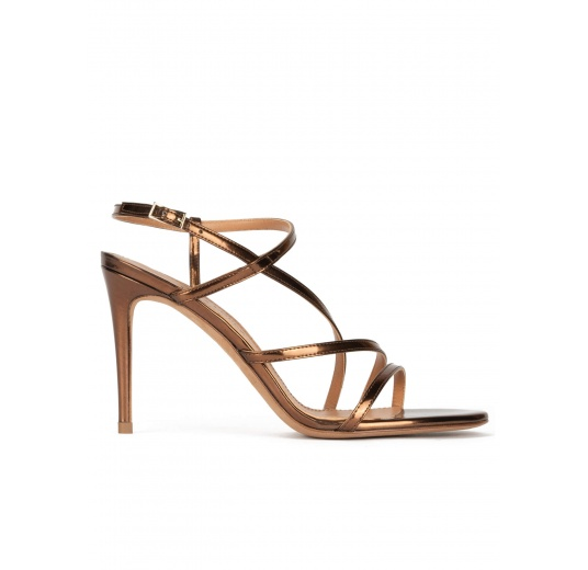 Minimalist design high heel sandals in bronze leather Pura López