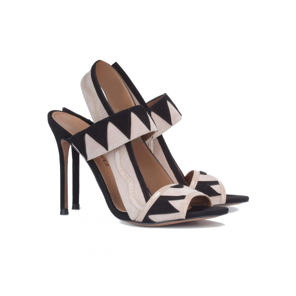 High heel sandals in nude suede - online shoe store Pura Lopez