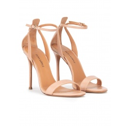High heel sandals in nude leather Pura López