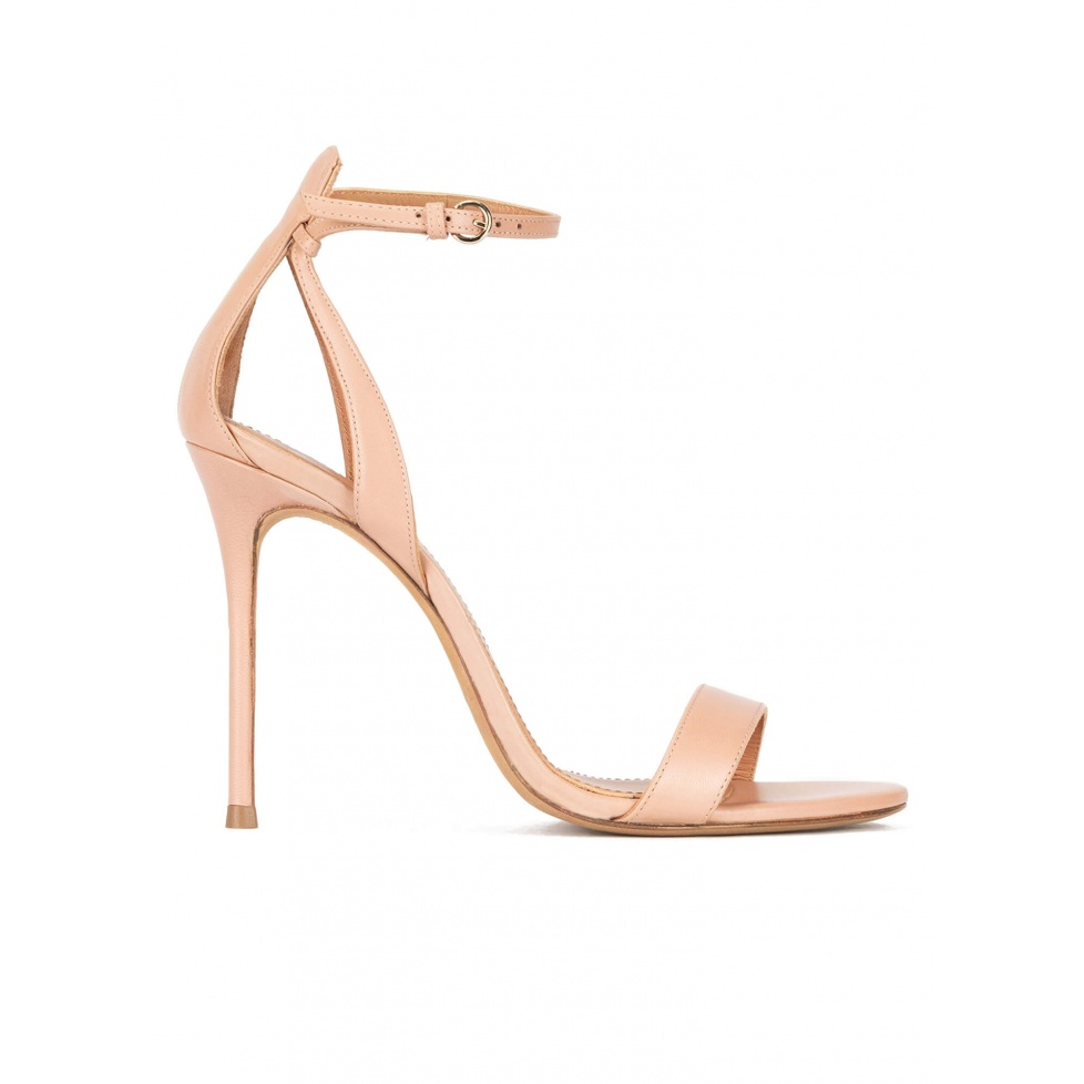 High heel sandals in nude leather