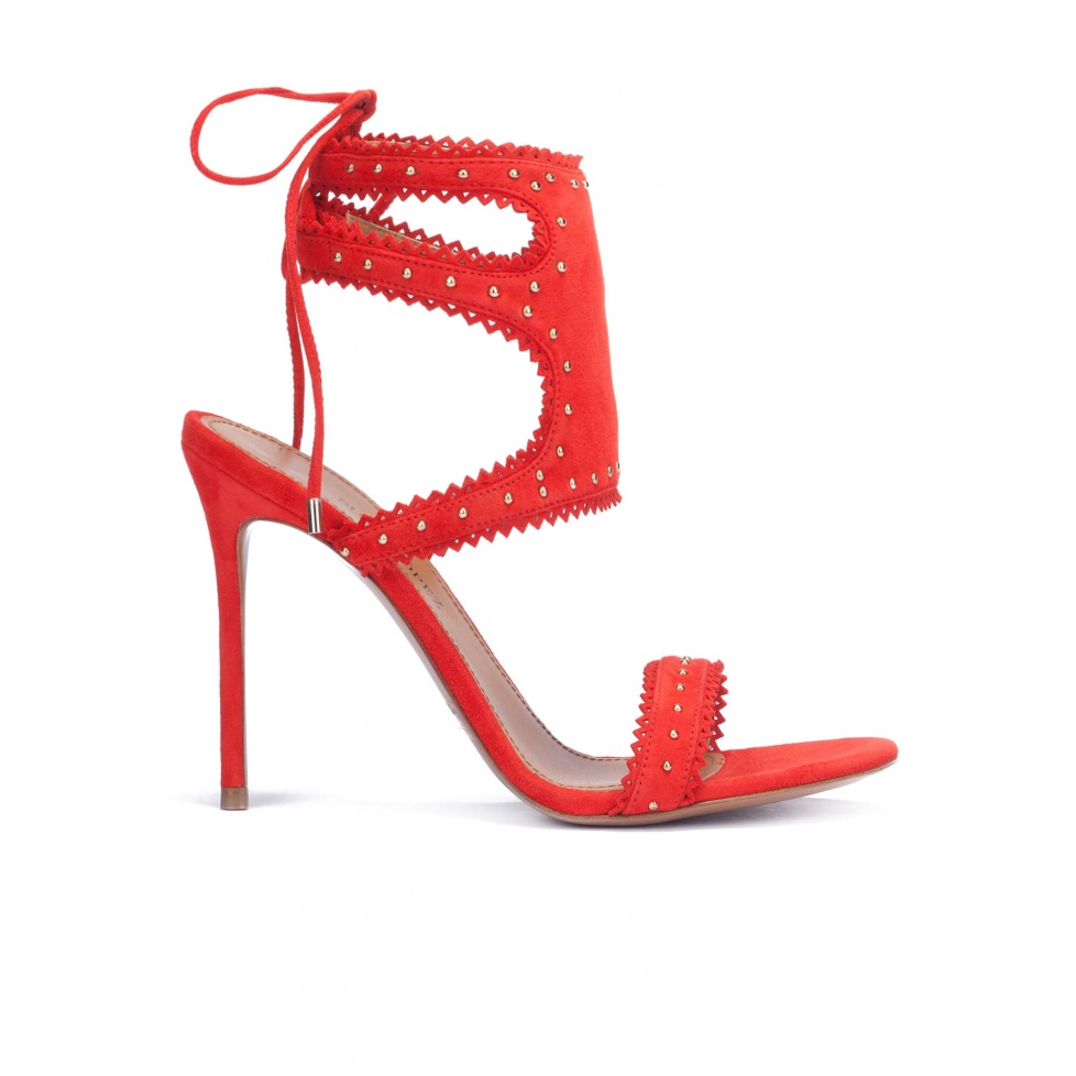 Red lace-up high heel sandals
