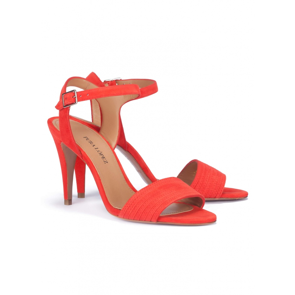 Heeled sandals in red suede - online shoe store Pura Lopez