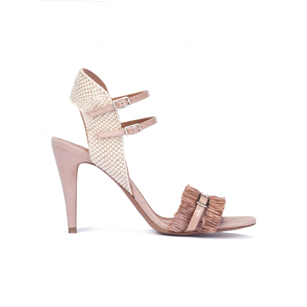 Nude fringed high heel sandals