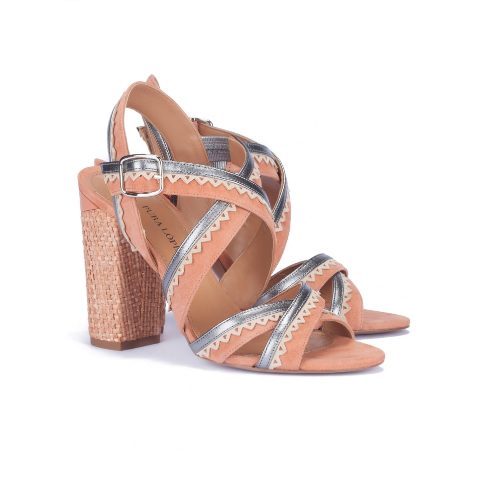 High block heel sandals old rose - online shoe store Pura Lopez