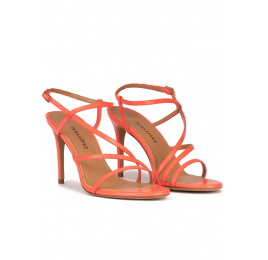 Strappy high stiletto heel sandals in coral pink leather Pura López