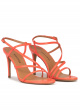 Strappy high stiletto heel sandals in coral pink leather