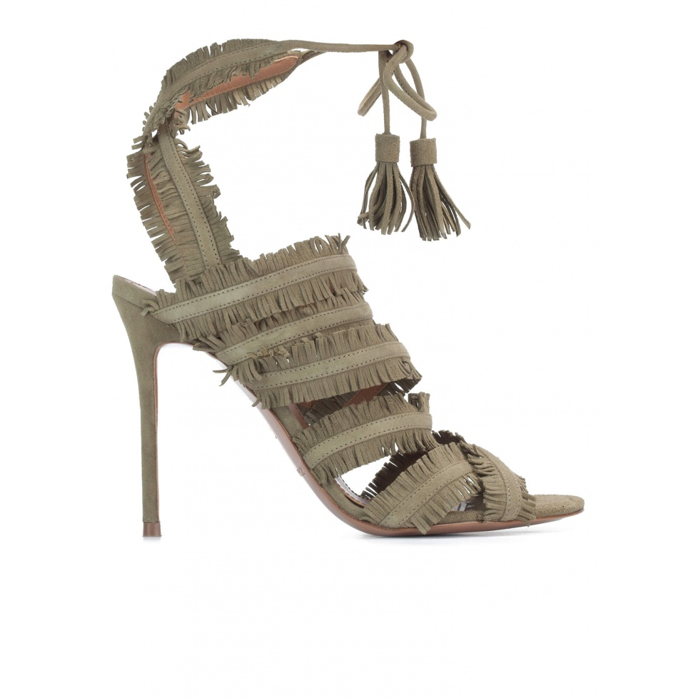 Lace-up high heel sandals in kaki suede