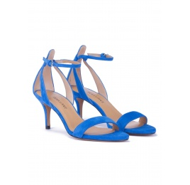 Ankle strap mid heel sandals in royal blue suede Pura López
