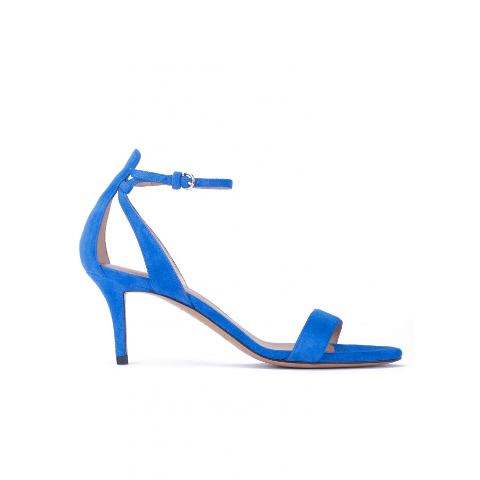 Ankle strap mid heel sandals in royal blue suede