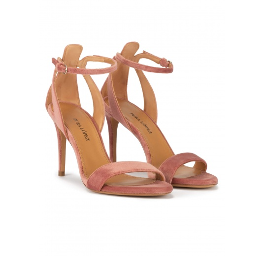 Ankle strap 90mm heel sandals in nude velvet Pura López