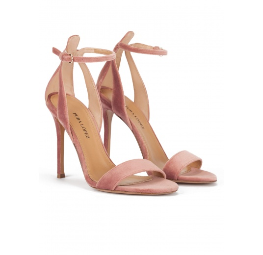 Ankle-strap high heel sandals in nude velvet Pura L�pez