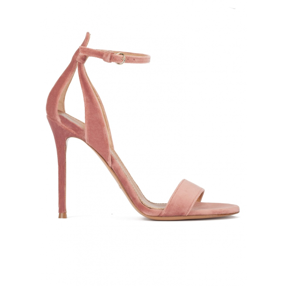 Ankle-strap high heel sandals in nude velvet