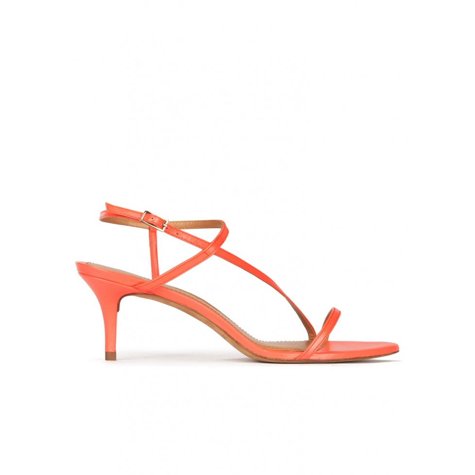 Mid heel sandals in coral leather