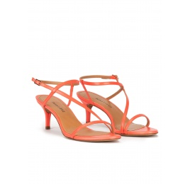 Mid heel sandals in coral leather Pura López