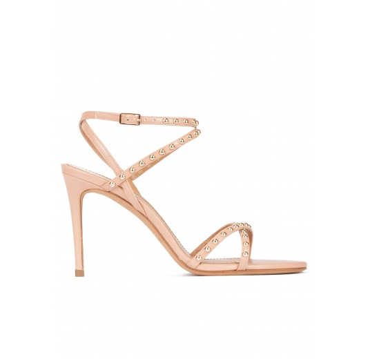 Studded high-heeled sandals in nude leather Pura L�pez