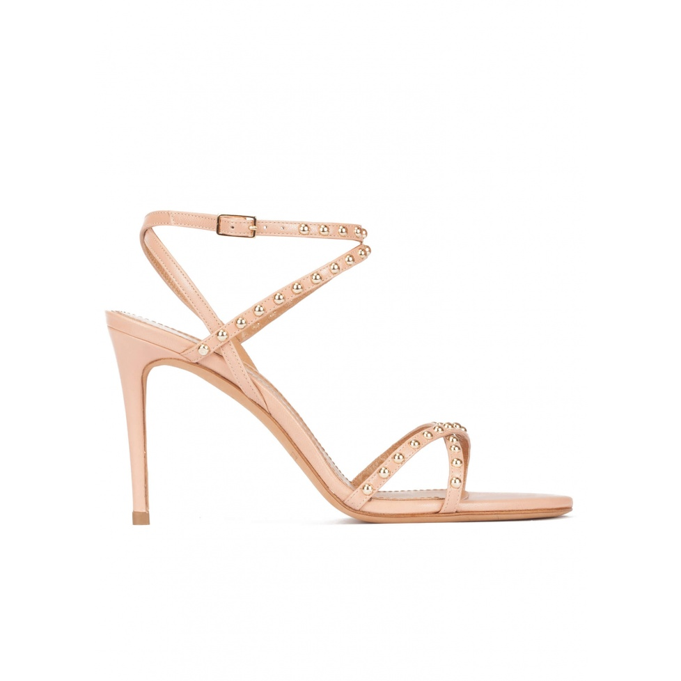 Studded high-heeled sandals in nude leather