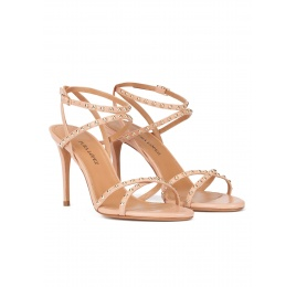 Studded high-heeled sandals in nude leather Pura López