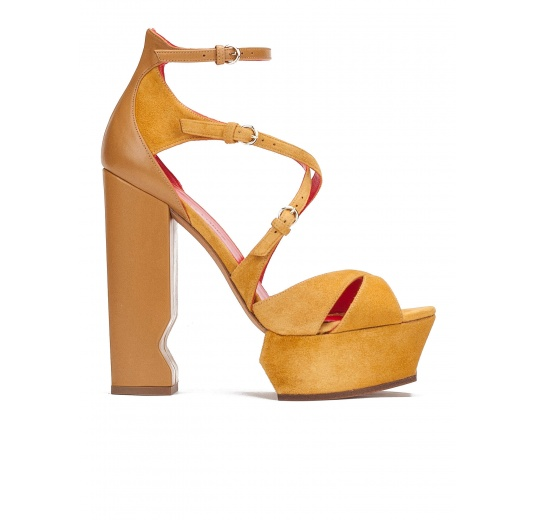 High block heel sandals in tobacco suede and leather Pura L�pez
