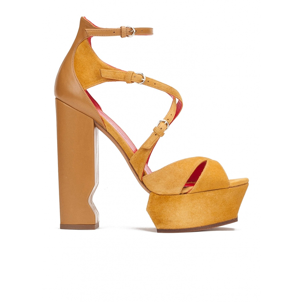High block heel sandals in tobacco suede and leather