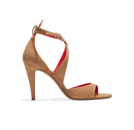 Strappy high heel sandals in hazelnut suede Pura López
