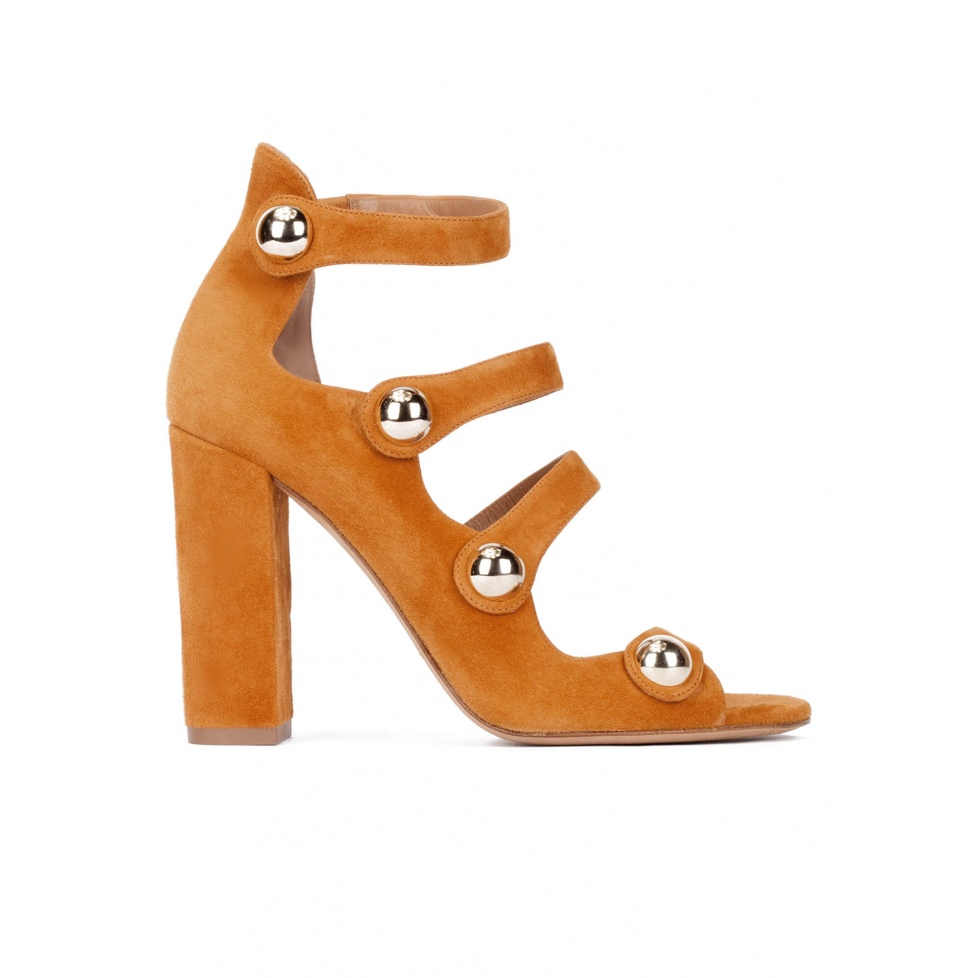 High block heel sandals in camel suede with buttons