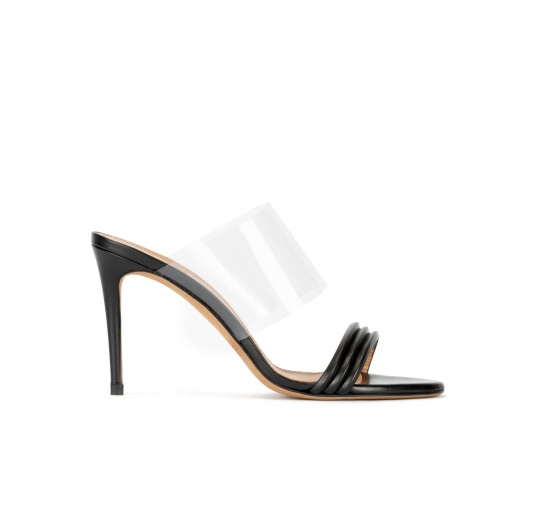Stiletto heel mules in black leather and transparent vinyl Pura López